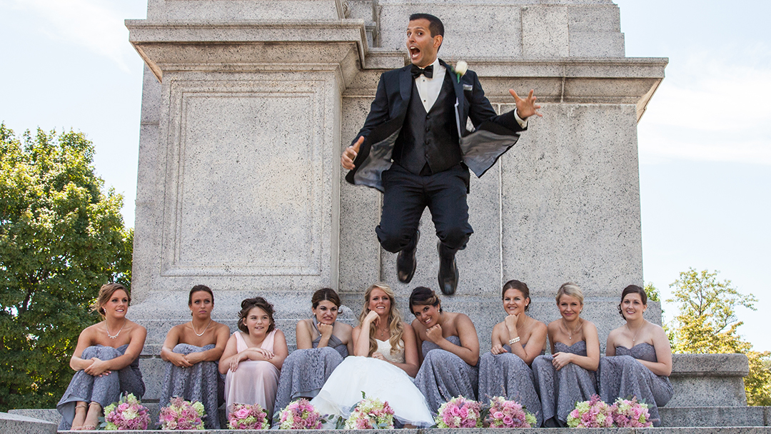 Guy jumping in Central Jersey Wedding