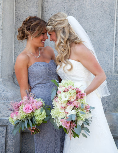 Bride and her Maid of Honor sharing a moment before her wedding